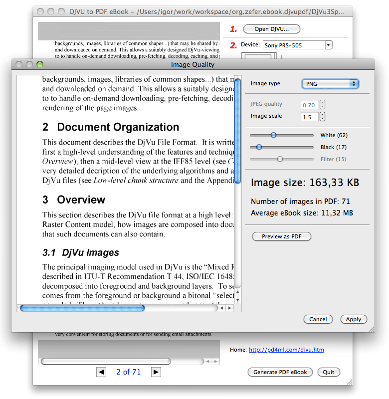 convert pdf to png java library