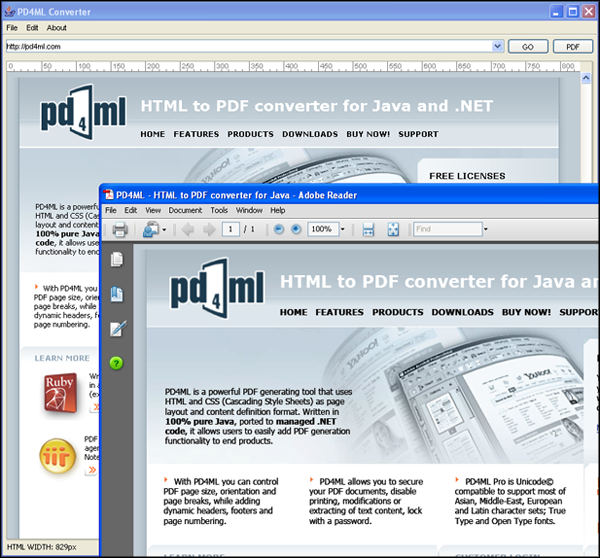 PD4ML. HTML to PDF converter for Java Screen shot